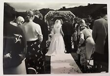 Vintage 90s PHOTO Of Rose Petals Flowers On The Walkway At An Outdoor Wedding