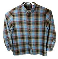 Horny Toad Mens XL Organic Cotton Plaid Flannel Button Down Shirt Blue Black Red