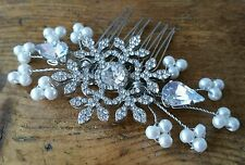 SNOWFLAKE BRIDAL HAIR ACCESSORY COMB DIAMANTE PEARL WINTER WEDDING BRIDESMAID
