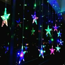 US 11.4FT 96 LED Xmas Star Shaped String Lights Wedding Christmas Curtain Decor