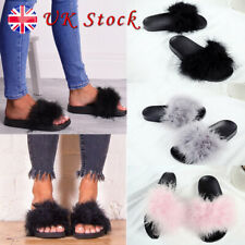 Womens Lady Party Fur Fluffy Flat Casual Slippers Slip On Flip Flops Shoes Sizes