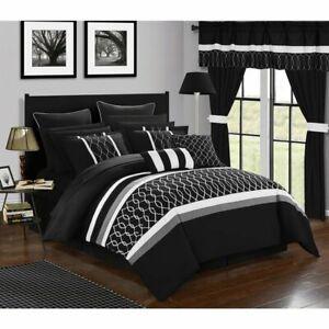 Queen King Bed Bag Solid Black White Geometric 24 pc Comforter Sheet Window Set
