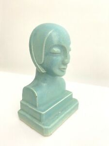 Vintage ART DECO Ceramic Pottery Woman Sculpture BOOKEND Mid Century BUST weight