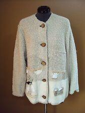 Women's Giesswein Wool Blend Cardigan Sweater Jacket Cream Size 42, Large, 12-14