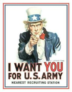 Uncle Sam I Want You Large Metal Sign 410mm x 300mm (de)