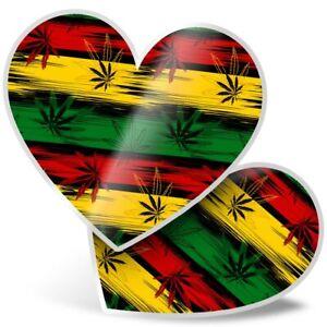 2 x Heart Stickers 10 cm - Jamaican Flag Cannabis Pattern  #16551
