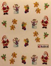 Nail Art Water Decals Christmas Snowman Santa Gingerbread Man Holly BLE916
