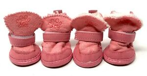 Dog Boots All Season Rubber Soles Shoes Booties ACL PINK NEW Size 3 Fur Lined