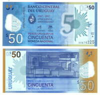 URUGUAY 50 Pesos Uruguayos POLYMER (2017) P-100 Series A Banknote Paper Money