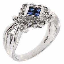 Vintage Style Round Genuine Diamond & Princess Cut Sapphire 14k Fine Gold Ring