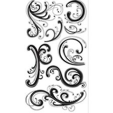 EK Success Sticko Black Flourish Stickers with Silver Accents