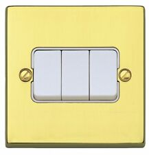 MK Alloy Savoy Plus 3 Gang 2 Way Light switch in Polished Brass K5373 PBS