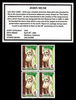 1964 - JOHN MUIR - Block of Four Mint -MNH- Vintage Postage Stamps