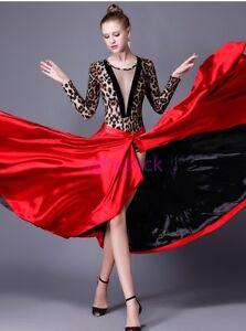 2019 Womens Latin Paso Doble Cloak Performance Costume Dance Dress Skirts Red US