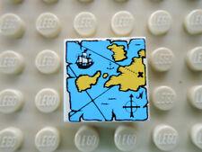 Lego 1 x Fliese 3068px9 weiß 2x2 bedr.  blau gelb Landkarte 10040 6274 6285 6278