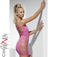 Pink Slashed Sides Mini Dress Seamless Clubwear UK 10-14 Ladies Womens Sexy New