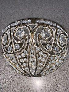 LARGE Quoizel Antique Gold & Crystal Beaded Light Sconce Old World Romance HTF