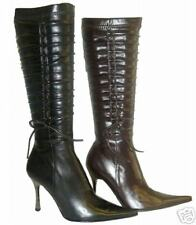 NEW GORGEOUS VICTORIAN BLACK PATENT KNEE HIGH BOOTS  6