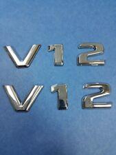 TWO SETS CHROME * V12 * BADGE EMBLEMS MERCEDES CLK GTR BMW E38 750iL JAGUAR XJS