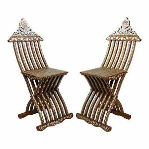 Beautiful Syrian folding Chairs w/inlaid mother of pearl -a Pair