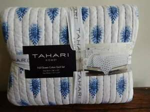 TAHARI HOME Indigo BLUE White PAISLEY Pick Stitch Full QUEEN QUILT Set 3PC