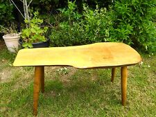 Vintage 1960s 70s handmade coffee side table natural rustic wood retro design