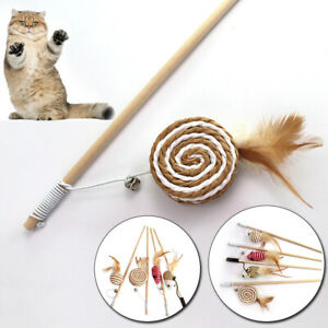 Pet Cat Play Toy Teaser Stick Wooden Interactive Wand Feather Tickler With Bell