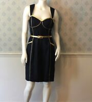 Yoana Baraschi Navy Blue and Gold Trimmed Belted Dress Size 8