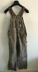 Carhartt Bib Overalls Mens W32 L32 Dungarees Workwear Dark Grey Lightweight #2