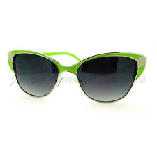 Womens Vintage Retro Fashion Sunglasses Half Rim Cateye Shades Green
