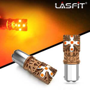 Lasfit 1157 2357 LED Front Sidemarker Turn Signal Light Bulbs Lamps Amber 3000K