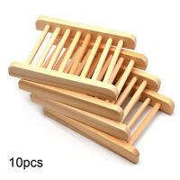 10Pcs Natural Wood Soap Tray Holder Dish Storage Bath Shower Plate Bathroom Wash