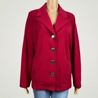 Susan Graver French Terry Button Front Jacket Blazer LARGE Dark Berry Pink Knit