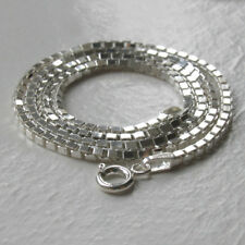Italian Solid Sterling Silver 2mm Diamond Cut Box Chain Necklace, Length 20""
