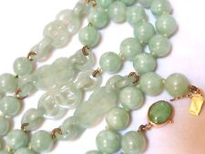 CHINESE VINTAGE NATURAL APPLE GREEN JADE BEAD NECKLACE, 14k CLASP,  81 grams