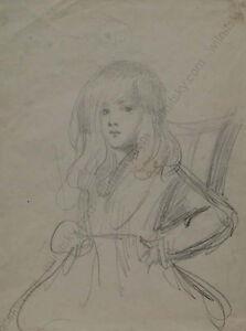 "Adolf Pirsch (1858-1929) ""Portrait of a Little Girl"", drawing, ca.1900"