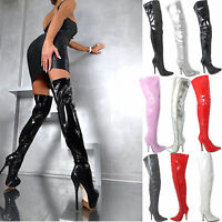 NEW WOMENS LADIES SEXY THIGH HIGH OVER THE KNEE HIGH HEEL STRETCH BOOTS SIZE 3-8