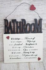 Wall Plaque Bathroom Rules Wall Plaque if it Drips Cream Black Wooden 28cm F1201