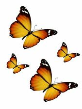 Set 4x sticker decal car laptop macbook kitchen butterfly orange room kid vinyl