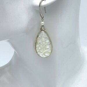 Mother of Pearl White Artisan Carved 925 Sterling Silver Earrings Tear Drop