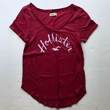 Hollister California Red with White Cursive Logo T shirt Women's Small Seagull