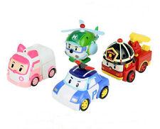 4Pcs Robocar Poli Roy Amber Helly Transformer Transforming Robot Academy Toy Set
