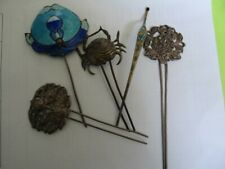 Lot Of 5 Very Fine Antique Qing Chinese Silver Enamel Hairpins