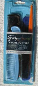 Goody Value 6 Pack Plastic Multi Hair Super Comb Set All Purpose Style Detangle