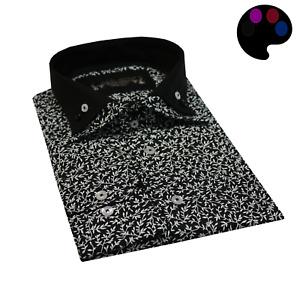 Men's Leaf Print Double Collar Shirt Cotton Slim Fit Size S & 2XL