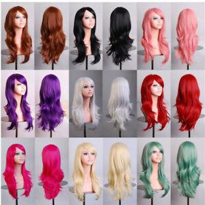 "27"" Ladies Blonde Long Curly Wigs Women Natural Body Wavy Hair Cosplay Women Wig"