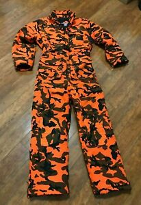 WINCHESTER CONCEAL Blaze Safe Orange Camo Men Hunting Zip Insulated Coveralls M