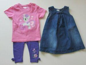 3 Teile Kleid Trägerrock Denim Shirt Kurzarm Leggings Gr. 92 Mädchen MARKE #406