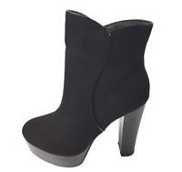 Womens Ladies Black Faux Suede High Heel Winter Shoes Ankle Boots Size UK 4 New