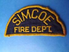 SIMCOE FIRE DEPARTMENT PATCH VINTAGE FIRE MAN EMPLOYEE ONTARIO CANADA COLLECTOR